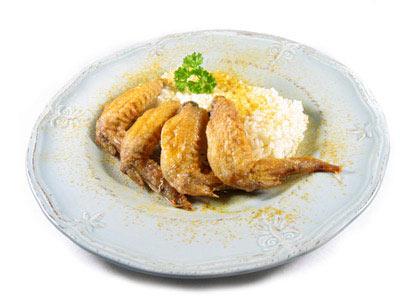 La receta del día: Alitas de pollo asadas al curry con arroz pilaw