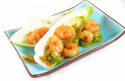 La receta del día: Ensalada de endibias y gambas al curry